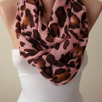 New - Mother's Day - Salmon Leopard  Infinity Scarf - Soft Cotton Fabric