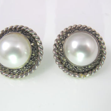 Sterling Marcasite Mabe Pearl Earrings, Large Round Statement Designer Studs, Bridal Pearl Jewelry Judith Jack Style