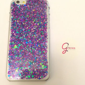 Galaxy Iridescent hearts with blue and purple glitter Samsung S5 phone case Sparkly glitter