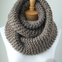 Soft chunky knit infinity scarf in Taupe Heather, extra large knit wool scarf, oversized knit eternity scarf, unisex knit scarf