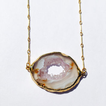 Sliced Agate Geode Necklace