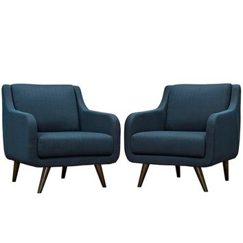Verve Armchairs Set of 2, Azure -Modway