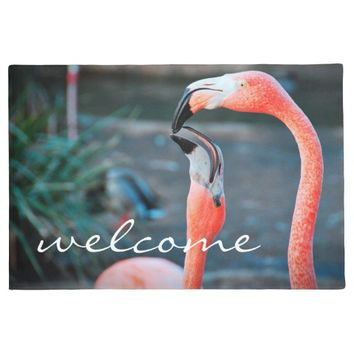 """Welcome"" fun orange pink flamingos photo doormat"