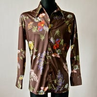 Vintage Van Heusen 70's Disco Brown Floral Shirt Men's Nylon Silky Super Shiny with Colorful Print