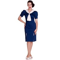 60's Ahoy Pinup Sailor Navy Blue Pencil Dress with Sailor Tie