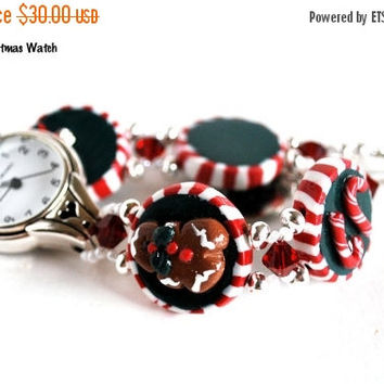 On Sale Ladies Watch, Christmas Jewelry, Gingerbread Watch, Candy Cane Watch,  Handmade, Stainless Steel, Fashion Watch, Artisan Jewelry