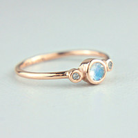 Rose Gold Moonstone and Diamond Ring 14k Rose Gold by ManariDesign