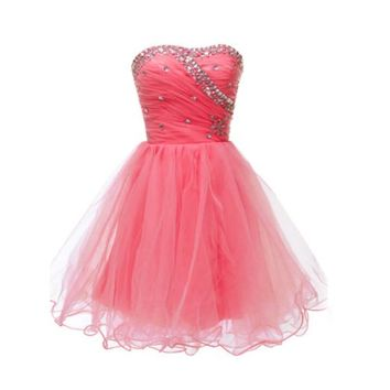 Fashion Plaza Strapless Crystal Party Dress D0193