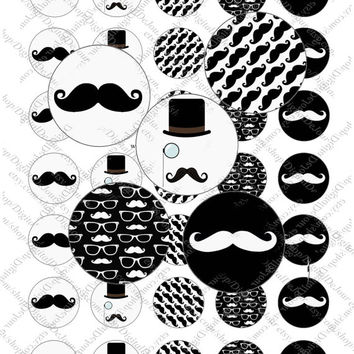 """2"""" inch mustache mustaches like a sir top hat monocle image sheet for party favors cupcake topper magnet stickers labels instant download"""