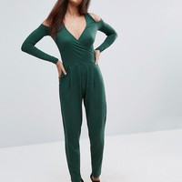 ASOS Cold Shoulder Wrap Jumpsuit in Jersey at asos.com