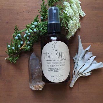 "quartz crystal infused herbal mist ~ ""that smell"" ~ patchouli/vetiver/sandalwood/cedar/lavender essential oil perfume"