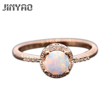 JINYAO Beautiful Round Jewelry Fire Opal & Zircon Gold Color Wedding Finger Ring For Women Fashion Party Jewelry 5colors