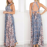 Women's Geometrical Vintage Print Sleeveless Boho Long Maxi Dress with Front Slit and Cutout Tie Back