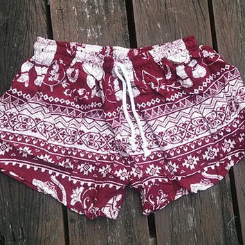 Red Shorts Elephant Printed Rayon Boho Hobo Beach Hippie Hipster Clothing Aztec Ethnic Bohemian Ikat Tank Handmade Colorful Unique Bikini