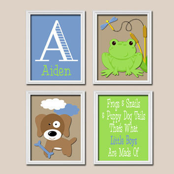 Frogs Puppy Dog Boy Name Monogram I Love You to the Moon Set of 4 Prints WALL Baby Decor ART Crib NURSERY Child