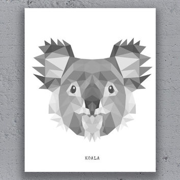 Koala Print Printable Poster Geometric Typography Black White Wildlife Polygon Animal Art Retro Art Print Instant Download Digital Print