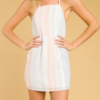 Striped Halter Dress With Back Tie (8ID0823)