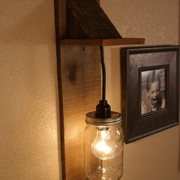 Wall Mounted Fruit Jar Lights : Best Wood Light Fixtures Products on Wanelo