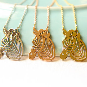 Zebra Cutout Necklace, Available in Silver, Gold, and Rose Gold