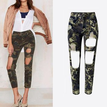 ESBONHS Women Summer Camouflage Pants Casual Trousers For Ladies Ripped High Waist Drawstring Skinny Denim Calf Length Jeans