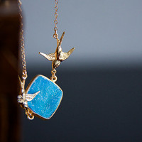 Blue Quartz Druzy Necklace Skyblue Druzy Stone Swallow Necklace Gold Filled Chain Crystal Druzy Jewelry - N294