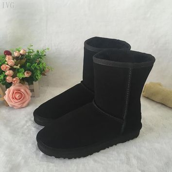 2017 Australia Classic Ugs Style women Snow Boots Winter Genuine Leather waterproof Mid-Calf Boots Brand IVG boats US size 4-13