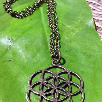 Seed of Life necklace ,pendant, Antique brass, sacred geometry , yoga jewellery , bohemian , high detail, Hand made .
