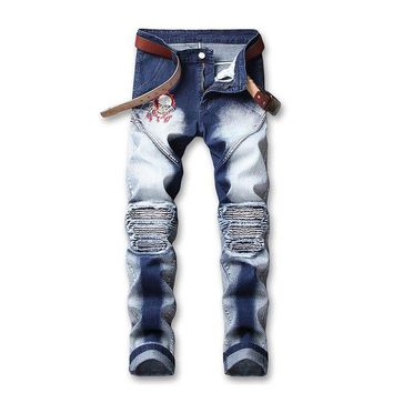 Men's Retro Skull Embroidery Jeans Skinny Patchwork Pleated