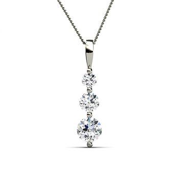 "Willow ""Eternal"" 18K White Gold Plated 3 Stone CZ Drop Necklace"