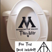 Ministry Of Magic inspired Toilet Parody Sticker Funny Harry Potter Fan Toilet Decal or Bathroom Wall Sticker