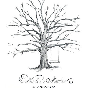 "Custom Hand Drawn Thumbprint ""Love Tree"" - Alternative Guest Book for Wedding (example)"