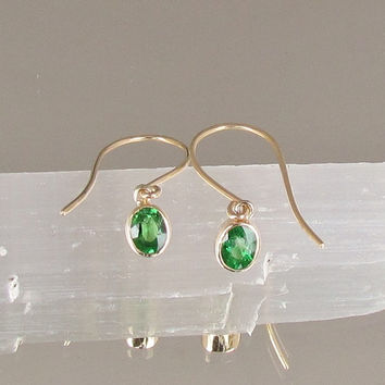 Tsavorite Garnet 14k Yellow Gold Bezel Set Dangle Earrings Green Garnet Fine Gemstone Jewelry