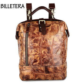 BILLETERA Vintage Genuine Oil Wax Leather Women Backpacks Brown Alligator Backpack Rucksack Casual Daypacks For Ladies