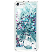 Blue & Purple Glitter Stars in Liquid Quicksand Case For iPhone 5, 5s, 6