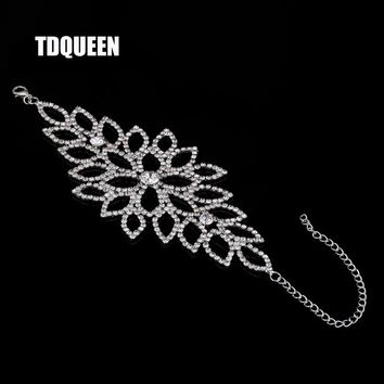 TDQUEEN Bridal Bracelet Wedding Party Arm Jewelry Silver Color Luxury Crystal Rhinestone Wide Slave Cuff Bangles And Bracelets
