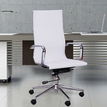 White Mesh High Back Home Office Desk Chair with Modern Swivel Seat