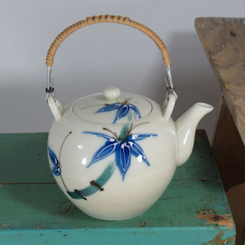Beautiful Moriage 2-Cup Teapot Circa 1930s . Made in Japan . Bright Blue and Green Design . Bamboo Wrapped Metal Handle