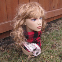 handmade flannel buffalo red plaid infinity scarf with lace and vintage metal buttons.