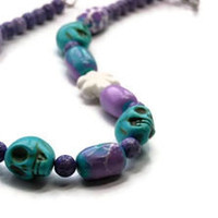 Day of the Dead Skull Necklace, Dia de los Muertos, Turquoise, Purple, Chunky