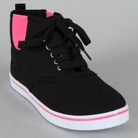 Qupid Trivia-16A Canvas Round Toe Lace Up Sneaker