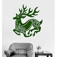 Vinyl Wall Decal Celtic Deer Pattern Animal Irish Art Ireland Stickers Unique Gift (ig3259)
