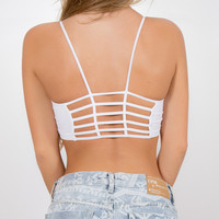 Wht Caged Back Bralette | Disruptive Youth