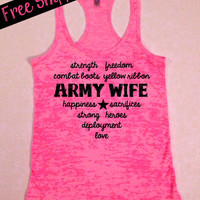 Military Love..Army Wife Heart Burnout Racerback Tank...S-XL...Free Shipping