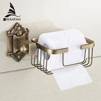 Paper Holders Antique Brass Wall Shelf Toilet Basket Towel Shampoo Bathroom Kitchen Storages Home Decorative Shelves WF-71216
