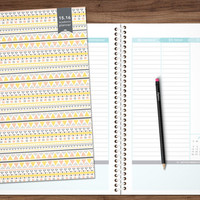 2015-2016 planner academic year PRE-ORDER 8.5x11 student planner weekly monthly calendar agenda daytimer / yellow pink grey tribal pattern
