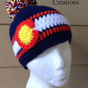Crochet Denver Colorado Flag Inspired beanie - Hat Beanie Made to Order Baby Child Teen Adult Crochet Beanie