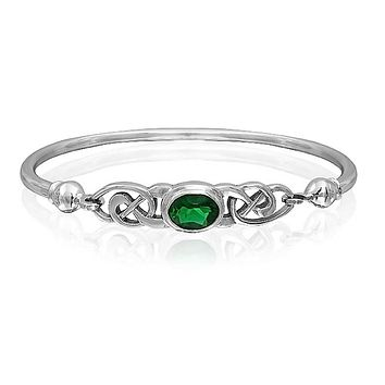 Celtic Love Knot Bangle Bracelet Kelly Green Oval CZ Sterling Silver