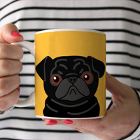 Pug Coffee Mug - Black Pug Ceramic Mug  - Pug Mug - Dog Mug - Gift for Coffee Lovers - Pug Lover Gift - Pug Crazy Mug - Pug Gift