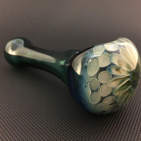 Apprentice Lake Green Glass Silver and Gold Fumed Pattern Tobacco Spoon Pipe