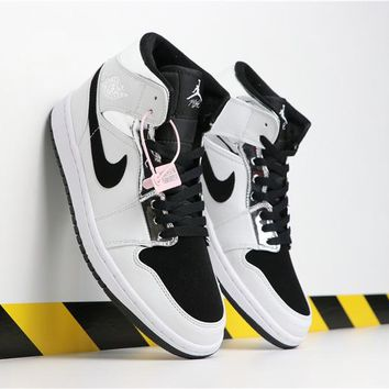 Air Jordan 1 Mid Alternate Think 16 White Silver and Black - Best Deal Online